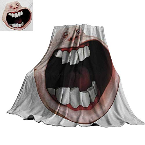 RenteriaDecor Humor,Soft Lightweight Blanket Scary Monster Meme with Surprised Forever Expression Cartoon Comics Graphic Blanket for Bed Couch 60