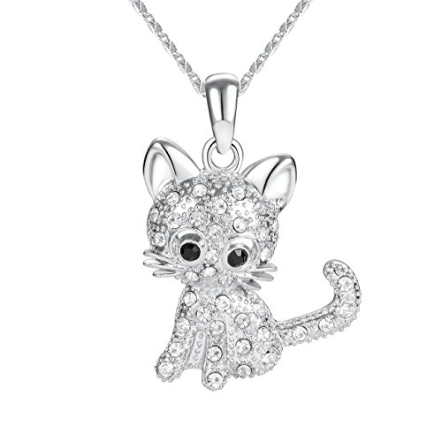TAO SHI Silver Chain Necklace Fashion Gold Plated Crystal Kitty Cat Pendant Necklace Cat Jewelry Charm Gifts for Women Girls - Kitty Charm Pendant