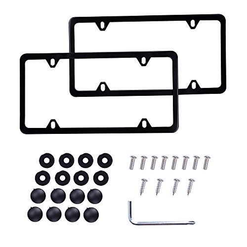 (License Plate Frames Stainless Steel Car Licence Plate Covers Holder, 2Pcs 4 Holes Licenses Plates Frames + Chrome Screw Caps For US Vehicles)