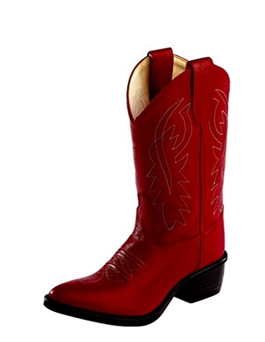 (Old West Kids Boots Girls' J Toe Western Boot (Toddler/Little Kid) Red 10.5 M)