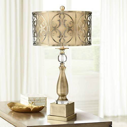 Possini Euro Doris Brass Finish Metal Candlestick Table Lamp - Possini Euro Design