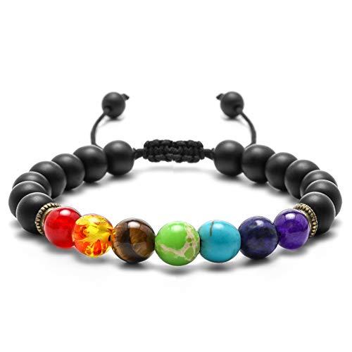 M MOOHAM Gemstone Bead Bracelets, 8mm Natural Tiger Eye Stone Black Matte Agate Beads Bracelet, Men Women Stress Relief Yoga Beads Adjustable Semi-Precious Stone Bracelet Bangle