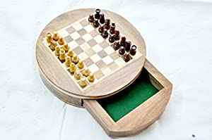 "Kimaro 6""' Round Wooden Chess Game Board Set + Wood Magnetic Crafted Pieces in Form Fitting"