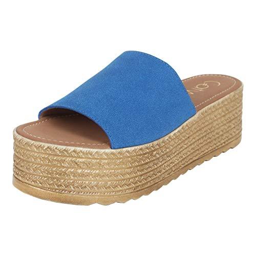 Catwalk Women Blue Wedge Sandals Fashion