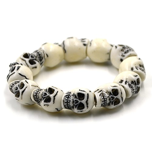 HZMAN Jewelry Gothic Skull Bracelet Elastic Unisex,8 Inch
