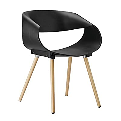 Porthos Home Patricia Eames-Style Dining Chair (Set of 2), Black - Molded plastic Beechwood legs Easy assembly - kitchen-dining-room-furniture, kitchen-dining-room, kitchen-dining-room-chairs - 41rlhOo9VQL. SS400  -