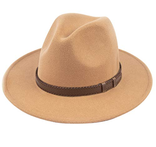 (Lanzom Women Wide Brim Warm Wool Fedora Hat Retro Style Belt Panama Hat (X-Camel, One)