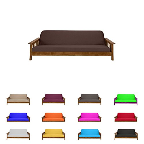 Futon Mattress Cover Solid Color Choose Color and Size Twin Full Queen (Chair & Ottoman, Brown)