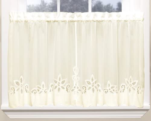Today s Curtain Plymouth Classic Battenburg Applique Sheer Window Tier, 36-Inch, Ecru