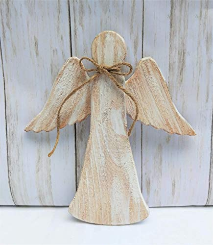 Angel Christmas Tree Topper White Rustic Wood Christmas Ornament Cedar (Topper Angel Tree Simple)