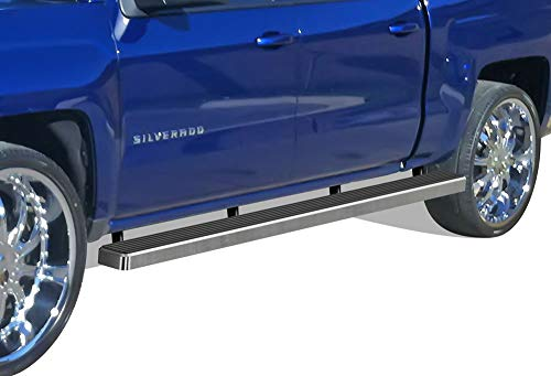APS Wheel to Wheel Running Boards 6in Custom Fit 2007-2018 Chevy Silverado GMC Sierra Crew Cab 5.5ft Short Bed & 2019 2500 3500 HD (Exclude 07 Classic)(Include 19 1500 LD) (Nerf Bars Side Steps Bar) 2500 Crew Cab Short