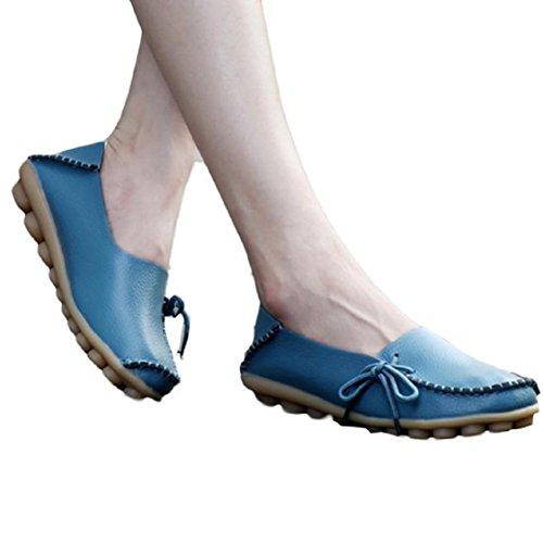 Vovotrade Neue Frauen Lederschuhe Loafers Weiche Freizeit Wohnungen weiblich Freizeitschuhe (Size:38, Blau)