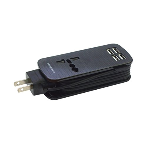 Portable Travel Charger with 4 USB Ports X-go Charger 1.5M Power Cord with Universal Power Outlet Wide Range Input Output 110V-240V USB 5.1V 6A High Speed USB ()
