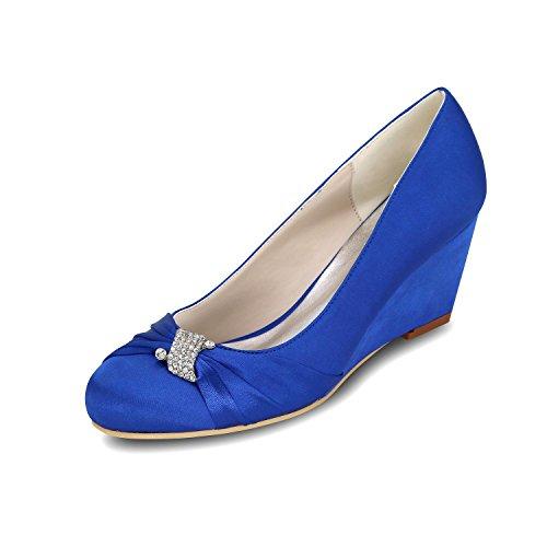 Pie Mujeres Tacón Blue La Ballet Multicolores L Cuña yc Zapatos De Alto Boda 9140 Las Del Dedo 22 S606qZ