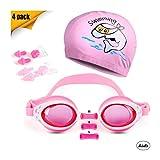 Landisun Kids Swim Goggles Swimming Glasses Suits with Nose Clip, Ear Plugs,Swimming Cap