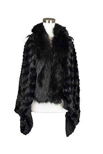 Womens Textured Style Plush Faux Fur Vest with Fur Collar (7510-Black)