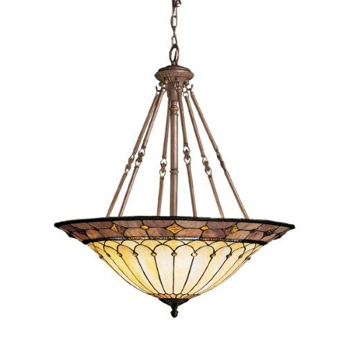 Kichler 65188 Dunsmuir 6LT Pendant, Tannery Bronze Finish with Art Glass Shade