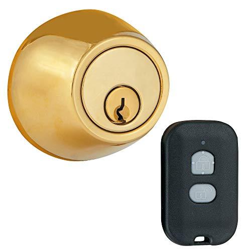 MiLocks WF-02P Digital Deadbolt Door Lock with Keyless Entry via Remote Control for Exterior Doors, Polished Brass