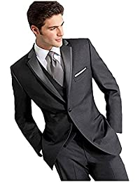 Dark Grey Wedding Suits for Men 3 Pieces Business Men Suits Groom Tuxedos