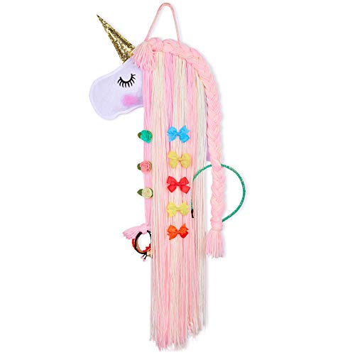 Beinou Unicorn Hair Clips Holder Hot Pink Yarn Tassels Hair Bows Storage Shy Unicorn Face Headband Organizer Unicorn Theme Party Decorations