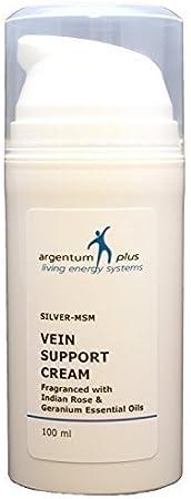 Argentum Plus–Silver-MSM vena apoyo crema 100ml–con rosa de la India y geranio aceites esenciales