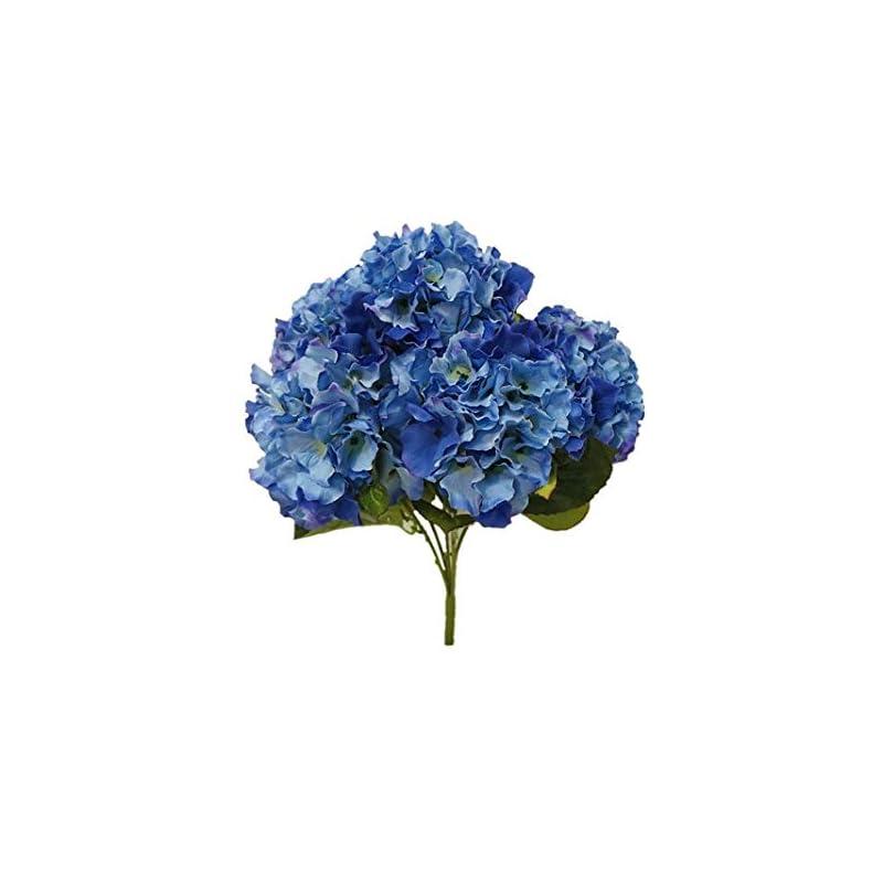 "silk flower arrangements sweet home deco 18"" super soft silk hydrangea artificial flower bouquet (5-stem, 5mop heads), with no pot(centerpieces /wedding decoration) (cobalt blue)"