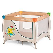 Hauck Sleep N Play SQ - Cuna parque ligero 3 piezas, 90 cm x 90 cm, cuna de viaje con base colchón y bolso de transporte, plegable y transporte fácil, beige