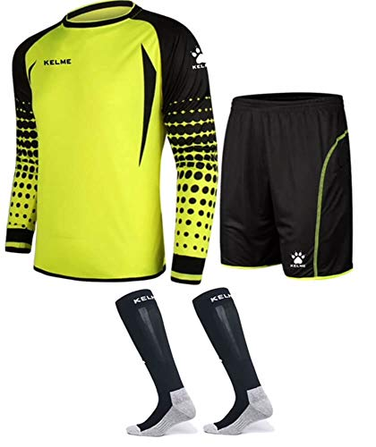 Goalkeeper Shirt Uniform Bundle - Includes Jersey, Shorts & Socks - Protection Pads on Shorts & Shirt (Yellow, Kids 12)