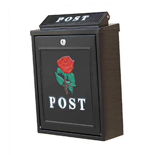 DNSJB mailbox Metal Postbox - Elegant Diecast Classic Design Made from Diecast Aluminium Post Office Box - 2 Security Keys Supplied (Color : Black)