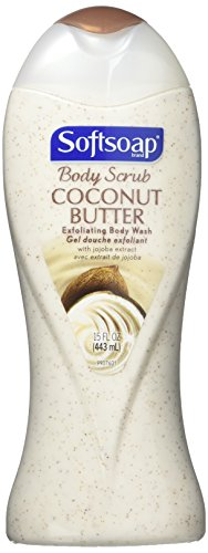 2 pack of Softsoap Body Scrub Coconut Butter Exfoliating Body Wash with Jojoba Extract, 15 oz ea