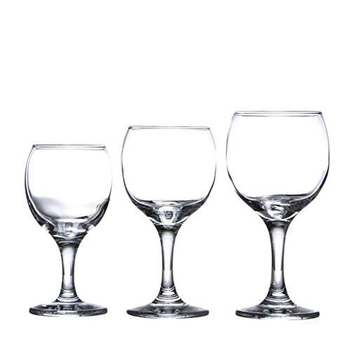 BISTRO 12-piece Wine Glasses Set (in 3 size), White, Red and Liquor Wine, Restaurant&Bar Quality, Durable Tempered Glass, Heavy Base, t.m. Pasabache (7 1/2 oz)