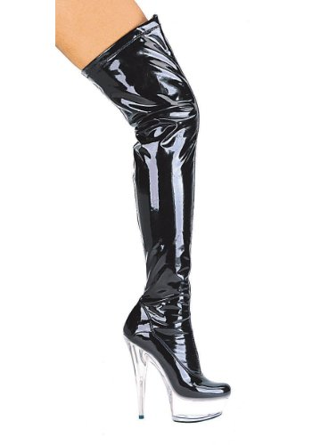 Women's 6 Inch Pointed Stiletto Heel Thigh High Stretch Boots (Black/Clear;10)