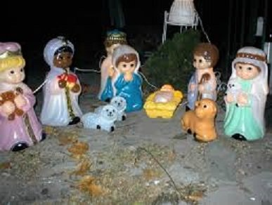 Lighted, Light Up, Christmas Indoor/Outdoor Yard or Lawn Decorations (Child Nativity Scene Set)