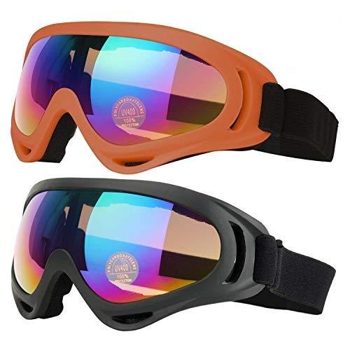 COOLOO Ski Goggles, Pack of 2, Skate Glasses for Kids, Boys & Girls, Youth, Men & Women, with UV 400 Protection, Wind Resistance, Anti-Glare Lenses (Black/Orange)