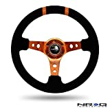 NRG Steering Wheel - 16 (Deep Dish) - 350mm (13.78 inches) - Black Suede with Orange Spokes / Orange Double Center Markings - Part # ST-016S-OR