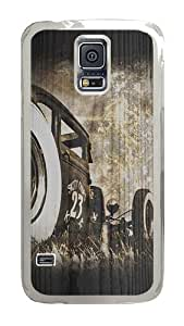 Samsung Galaxy S5 Case, Old Car Wood Clear Plastic Hard Snap on Protective Case Back Cover for Samsung Galaxy S5 I9600
