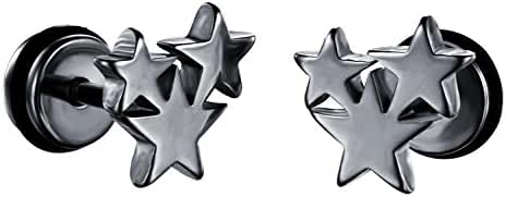 Mens Womens Titanium Star Stud Earring