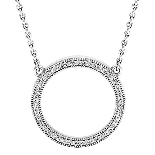 Dazzlingrock Collection 0.25 Carat (ctw) 10K Round Diamond Ladies Circle Pendant (Silver Chain Included) 1/4 CT, White Gold
