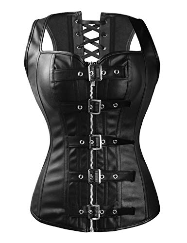 (Vaslanda Black Steampunk Faux Leather Overbust Corset Vest Lace up Boned PU Bustier Tank Top Lingerie with Zipper & Belt )