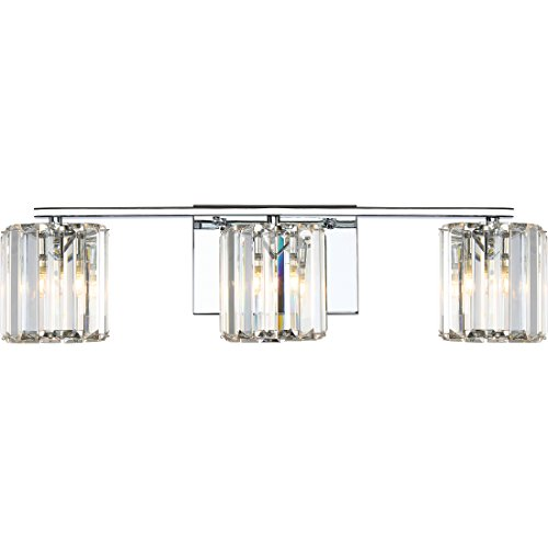 Quoizel PCDV8603CLED Platinum Collection Divine 3-Light Bath Light, Polished Chrome - Wall Cristal Lighting