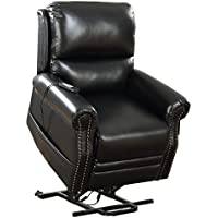 Seven Oaks BLKLEATHNLHD Power Lift Recliner for Seniors