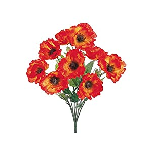 "Afloral Silk Poppy Bush in Orange - 18"" Tall x 4"" Blooms 109"