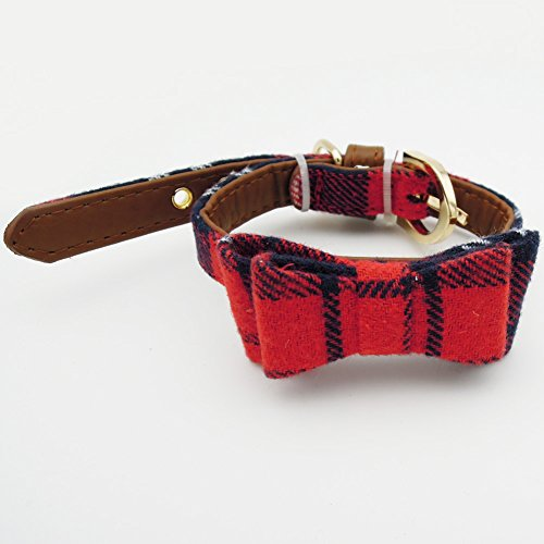 PetFavorites Small Dog Costume Collar - Plaid Bowtie Kitten Bandana Collar for Halloween - Teacup Yorkie Chihuahua Clothes Outfits Accessories, Adjustable & Handmade (Red/Green Plaid Bow Tie)