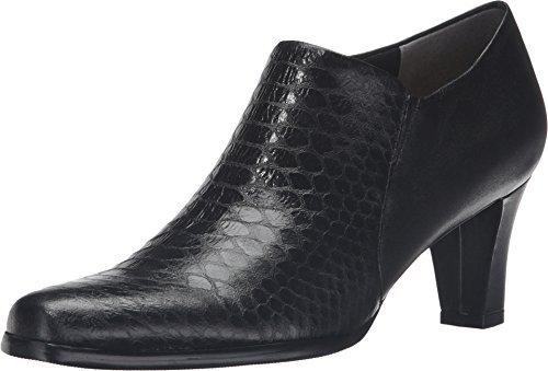 Metal Nappa Footwear - Trotters Women's Jolie Black Metal Glazed Snake/Soft Nappa Leather Boot 7 SS (4A)