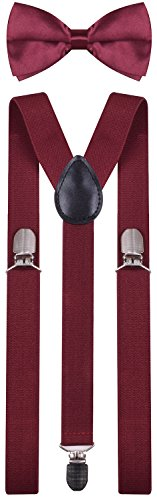 BODY STRENTH Mens Suspenders with Bow Tie Set Y Shape Elastic Wine
