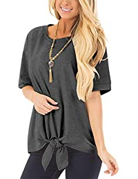 Tie Front Knot Shirts for Women Short Sleeve Tunic Tops...