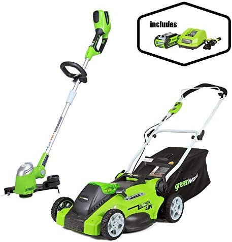 Greenworks 16-Inch 40V Cordless Lawn Mower 13-Inch Cordless String Trimmer, 4.0 AH Battery Included