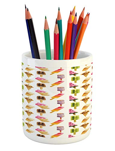 Ambesonne Ice Cream Pencil Pen Holder, Watercolor Pattern with Different Products Choc Ice Freshness Enjoyment, Printed…