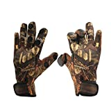 ICE SEA Neoprene Anti-Slip Fishing Gloves with Flip Back Thumb & Index &Middle Finger caps Great for Ice Fishing, Winter Conditions, and Outdoor Activities