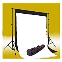CowboyStudio Photo Muslin Background Support System with One Background Support Set with 1 carry case and Black & White Muslin Backdrops